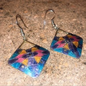 Colorful square vintage earring hooks